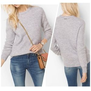 Michael Kors Grey Mohair Ribbed Sweater, Size S